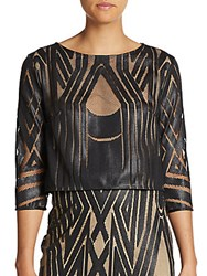 Abs By Allen Schwartz Graphic Print Front Crop Blouse Black