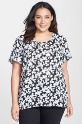 Halogen Print Roll Sleeve Woven Top Plus Size Black