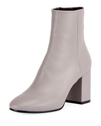 Balenciaga Leather Block Heel Ankle Boot Gray