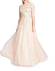 Teri Jon Embroidered A Line Gown Mauve