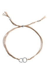 Dogeared Double Linked Friendship Bracelet Taupe Silver