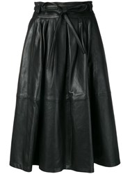 Paul Smith Ps Midi Leather Skirt Black