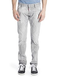 Viktor And Rolf Slim Duck Wash Distressed Jeans Grey