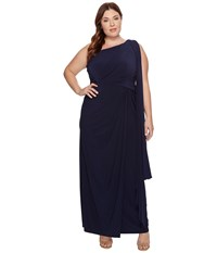 Adrianna Papell Plus Size One Shoulder Jersey Halter Long Gown Midnight Women's Dress Navy
