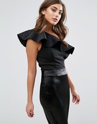Miss Selfridge Bonded One Shoulder Scuba Crop Black