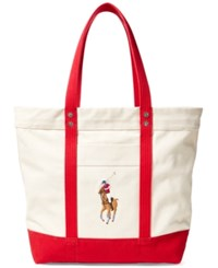 Polo Ralph Lauren Men's Big Pony Canvas Tote Red