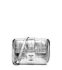 Michael Kors Mila Small Metallic Embossed Leather Messenger Silver