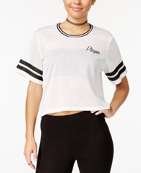 Material Girl Juniors' Mesh Player Graphic Crop T Shirt Created For Macy's Bright White