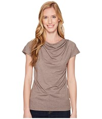 Royal Robbins Essential Tencel R Cowl Neck Top Falcon Heather Women's Short Sleeve Pullover Gray