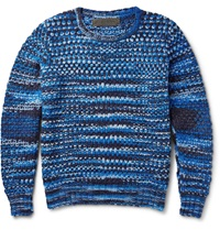 The Elder Statesman Patterned Cashmere Sweater Blue