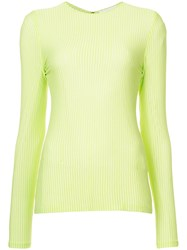 Christian Siriano Long Sleeve Fitted Sweater Green