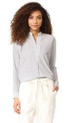 Vince Double Stripe Pullover Shirt Off White Black