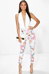 Boohoo Summer Floral Skinny Scuba Trousers Ivory