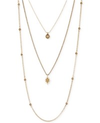 Lucky Brand Gold Tone Layered Star Pendant Necklace