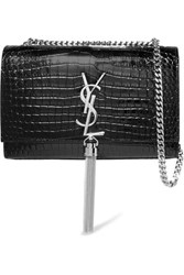 Saint Laurent Kate Croc Effect Leather Shoulder Bag Black