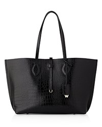 Whistles Regent Shiny Croc Embossed Leather Tote Black Gold