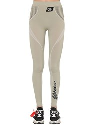 Off White Stretch Tech Jersey Sport Leggings Grey