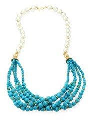 Kenneth Jay Lane Faux Pearl And Turquoise Multi Strand Necklace