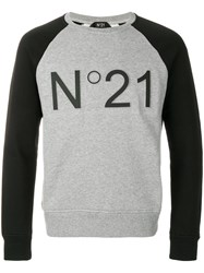 N 21 No21 Cropped Logo Sweatshirt Grey