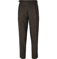 Barena Brown Tapered Cropped Puppytooth Wool Suit Trousers Brown
