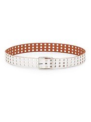 Steve Madden Reversible Saffiano Faux Leather Belt White Cognac