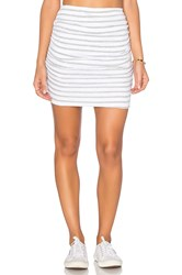 Sundry Striped Ruched Mini Skirt White
