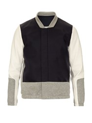 Tim Coppens Block Colour Leather Panelled Bomber Jacket Navy Multi