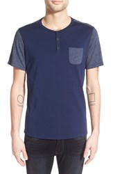 Men's Howe 'Sextant' Short Sleeve Pocket Henley T Shirt Navy Blazer