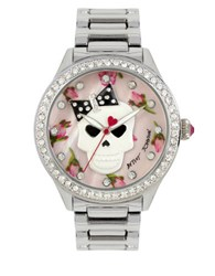 Betsey Johnson Skull Floral Printed Dial Watch Bj0051749 Silver