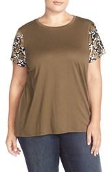 Plus Size Women's Michael Michael Kors Snake Print Sequin Short Sleeve Top