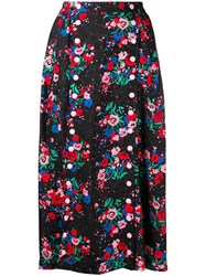 Marc Jacobs Buttoned Floral Skirt Black