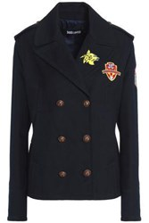 Just Cavalli Double Breasted Cotton Blend Twill Coat Navy