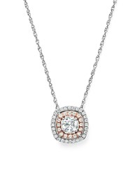 Bloomingdale's Diamond Pendant Necklace In 14K Rose And White Gold 0.50 Ct. T.W. 100 Exclusive White Rose