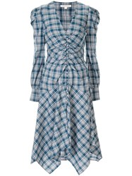 Jonathan Simkhai Oxford Cotton Plaid Draped Dress Blue