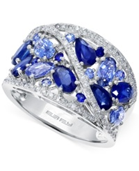 Effy Collection Effy Sapphire 3 1 8 Ct. T.W. And Diamond 1 4 Ct. T.W. Ring In 14K White Gold Blue