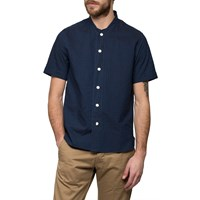 Ymc Indigo Stitch Stripe Baseball Shirt Blue