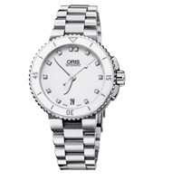 Oris 01 733 7652 4191 07 8 18 01 Women's Aquis Date Diamond Bracelet Strap Watch Silver White