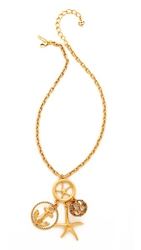 Oscar De La Renta Nautical Pendant Necklace Russian Gold