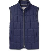 Canali Quilted Wool Gilet Navy
