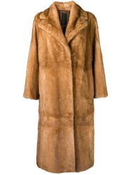 Liska Neptunia Fur Trimmed Coat Brown
