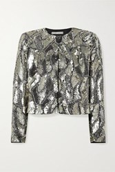 Alice Olivia Kidman Cropped Sequined Silk Jacket Silver