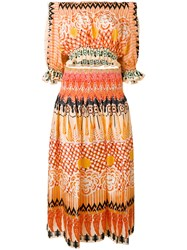 Temperley London Printed Off Shoulder Dress Women Silk 8 Yellow Orange
