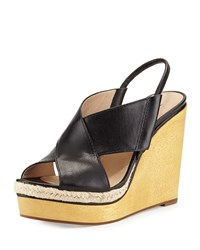 Gladys Leather Crisscross Wedge Sandal Black Diane Von Furstenberg