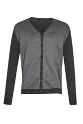 French Connection Men's Flux Mix Knits Cardigan Charcoal