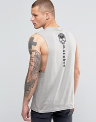 Asos Sleeveless T Shirt With Gothic Back Print And Dropped Armhole Grey