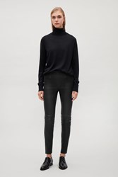 Cos Slim Fit Leather Trousers Black