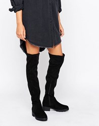 Lost Ink Gain Stretch Chunky Flat Over The Knee Boots Black