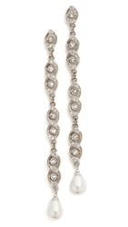 Ben Amun All Dressed Up Linear Drop Earrings Clear Silver