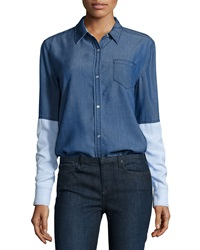 Vince Chambray Colorblock Button Down Shirt Dark Chambray