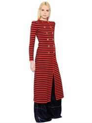 Sonia Rykiel Striped Wool And Cashmere Knit Long Coat